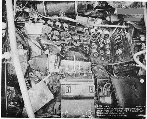 Photo 7: Path of direct hit bomb No. 3 in after engine room.