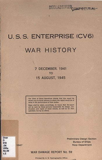 Cover of 'USS Enterprise (CV6) - War History, 7 December, 1941 to 15 August, 1945'.