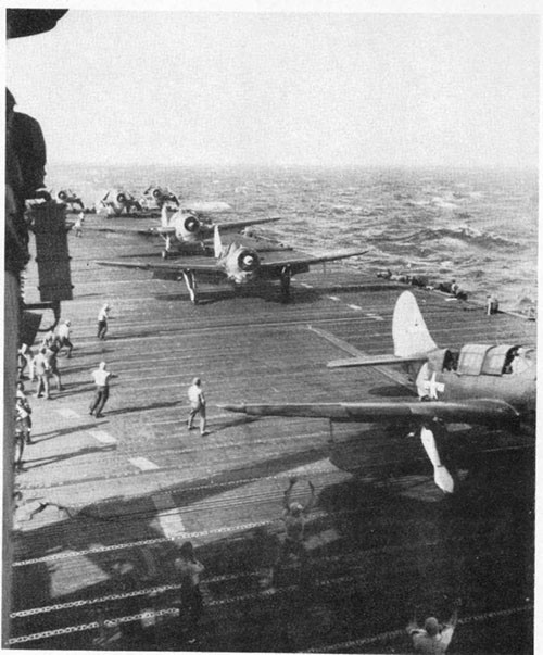 Photo A-3: Planes taking off from ENTERPRISE for a strike in the Western Pacific.