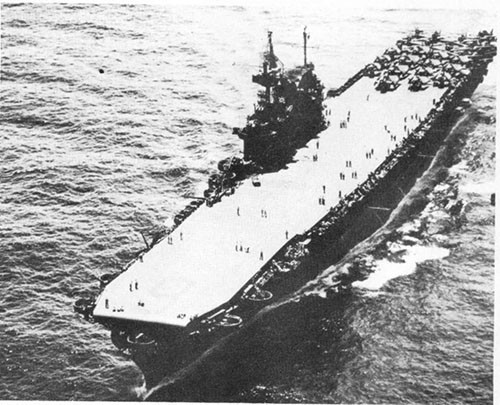 Photo A-4: ENTERPRISE as she appeared during the latter part of the war after her 1943 overhaul.