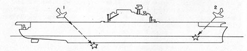 Diagram of ship showing suicide plane misses.