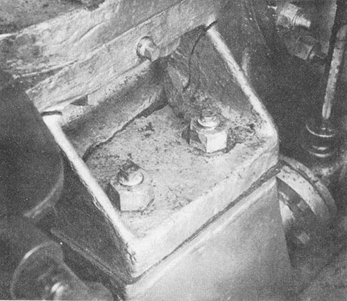 Photo I-4: First near-miss. View of break in foot turbine end of No. 3 generator.