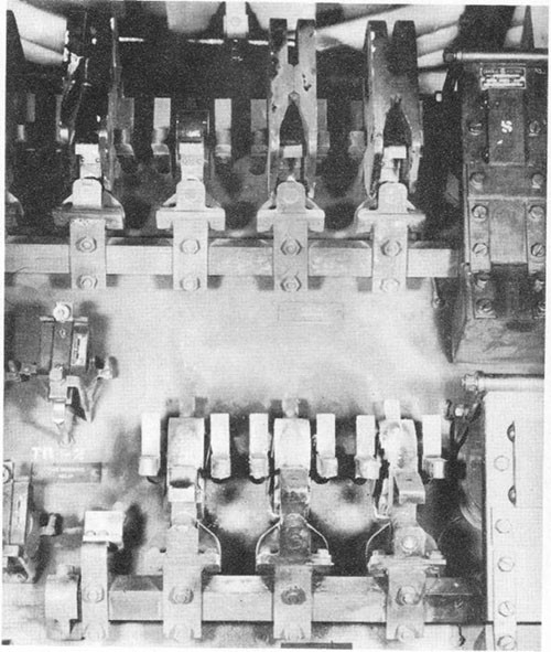 Photo I-9: First near-miss. View of charred controller panel, No. 4 motor-generator.