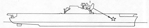 Diagram of ship showing suicide plane and bomb hit.