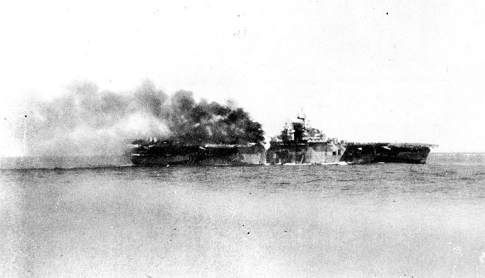 Photo 1: 30 October Action. Starboard side showing fire in way of plane crash.