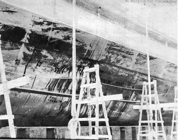 Photo No. 3: Damaged area, looking aft.