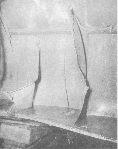 Photo No. 4: Crack in vertical keel (3/4-inch medium steel) at frame 74-1/2.