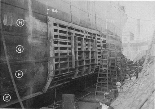Photo 2: USS ELECTRA - starboard side looking forward and showing the outside of the large patch over the torpedo hole.