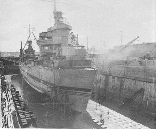 Photo 17: USS NEW ORLEANS - In drydock at Navy Yard, Puget Sound 8 April, 1943.