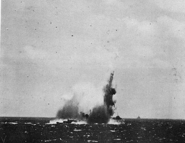 Photo 1: Torpedoing of U.S.S. O'BRIEN, 15 September, 1942.