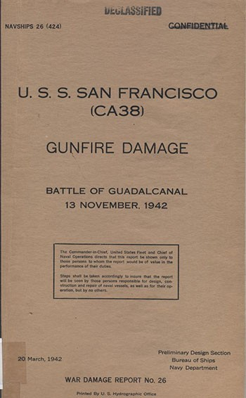 Cover of 'USS San Francisco (CA-38) Gunfire Damage, Battle of Guadalcanal 13 November, 1942'.