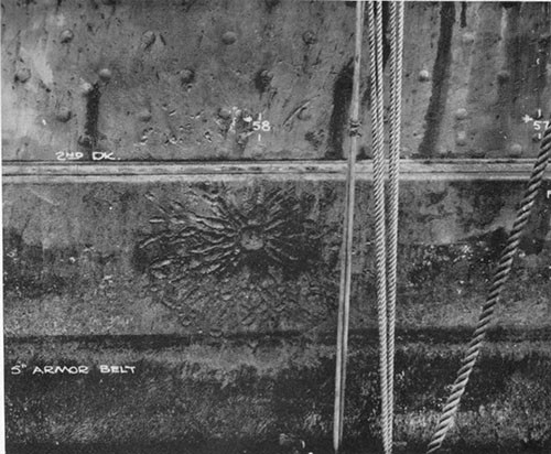"Photo 30: Hit No. 26 (6"") showing damage to 5"" armor belt."