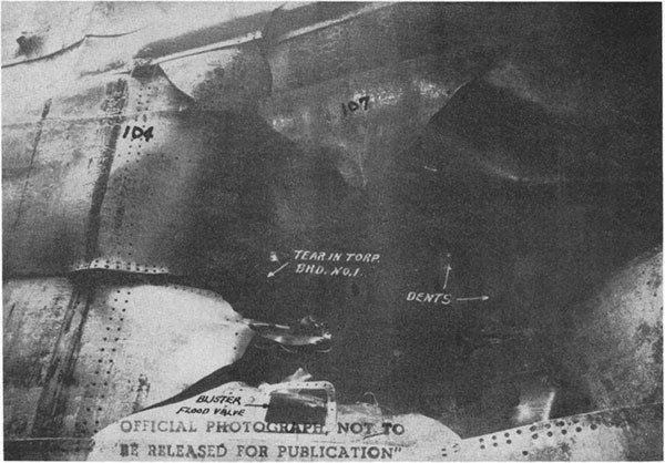 Photo 4: View from directly opposite the damage showing torpedo bulkhead No. 1 and the forward edge of the hole.