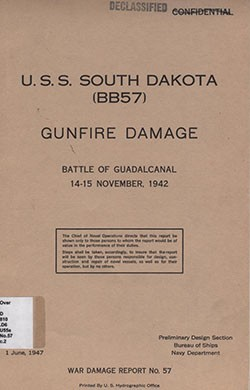Cover of 'USS South Dakota (BB-57) Gunfire Damage, Battle of Guadalcanal 14-15 November 1942'.