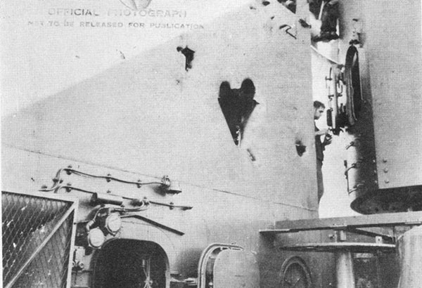 Photo 24: Hits Nos. 16, 17 and 18 on starboard side of W.R.S.R. 0203.