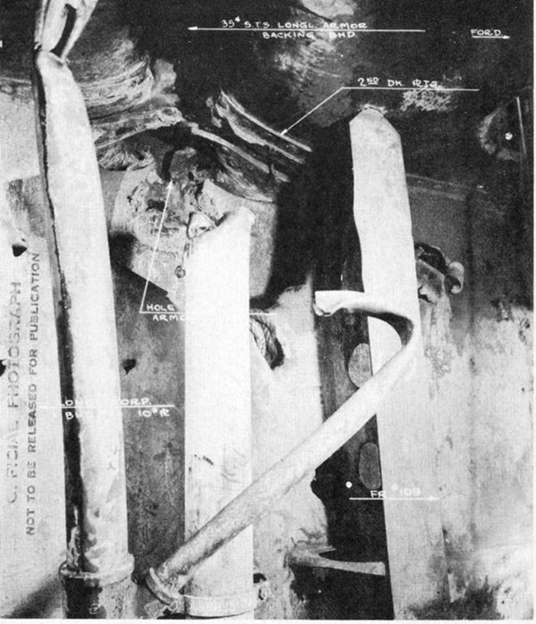 Photo 34: Hit No. 25. Damage to second deck and torpedo bulkhead No. 2.