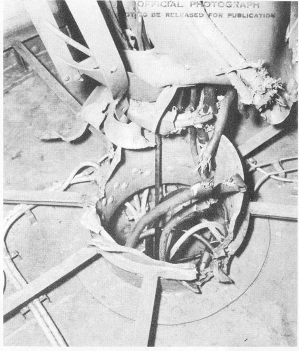 Photo 7: Center column of 5-inch secondary battery director destroyed by hit No. 6.