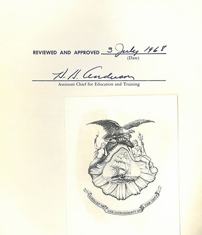 Verso page image - Reviewed and approved 3 July 1968, signed by Anderson, Assistant Chief for Education and Training, with the Navy Department Library's book plate.