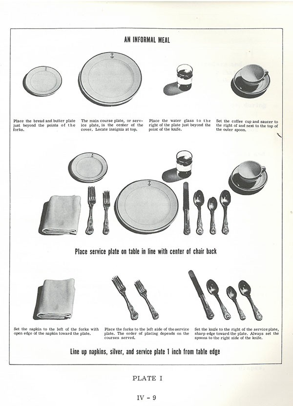 Plate 1: showing an informal meal place setting.