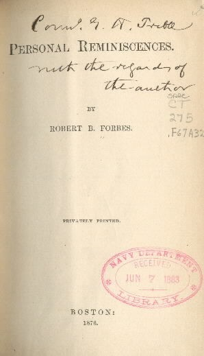 Image of title page of Personal Reminiscences by Robert B. Forbes
