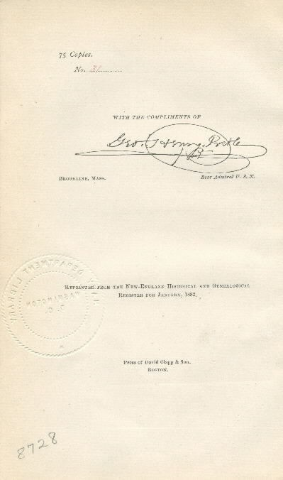 "Image of Verso of title page: ""75 copies, No. 31, With the compliments of [signature] George Henry Preble."""