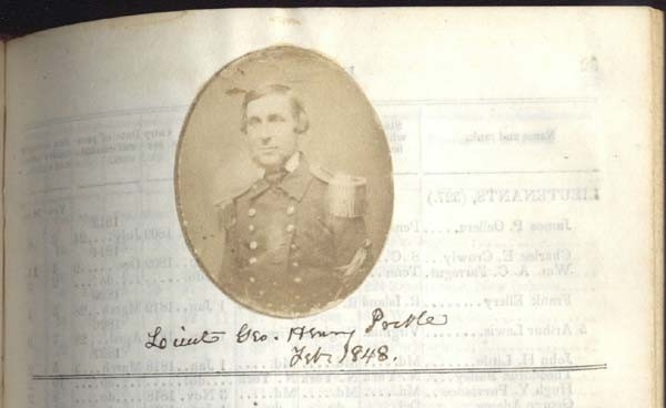 February 1848 photograph of Lieutenant George Henry Preble on page 31 of the 1849 register