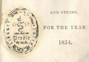 "Image of rubber or wood stamp to ink his ownership. The first appears on the title- page of the 1854 register. It's two-inch vertical oval displays a snake wound around a sword within a wreath quoting ""Liberty and Truth."""