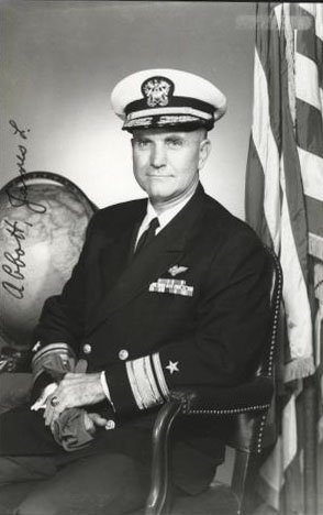 Rear Admiral J. Lloyd Abbot, US Navy, photgraph by PH1 T.L. Williams. US National Archives Photograph, Visual Aid card #USN1120263.