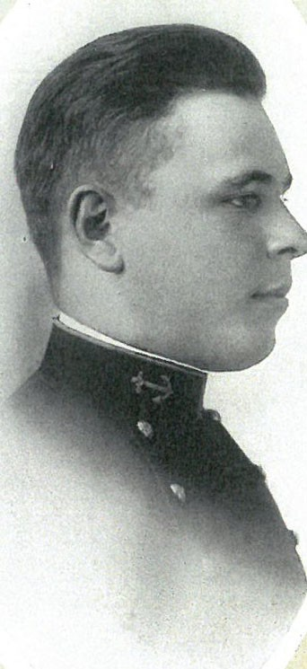 Photo of Commodore Robert Nicholson Scott Baker copied from page 28 of the 1915 edition of the U.S. Naval Academy yearbook 'Lucky Bag'.