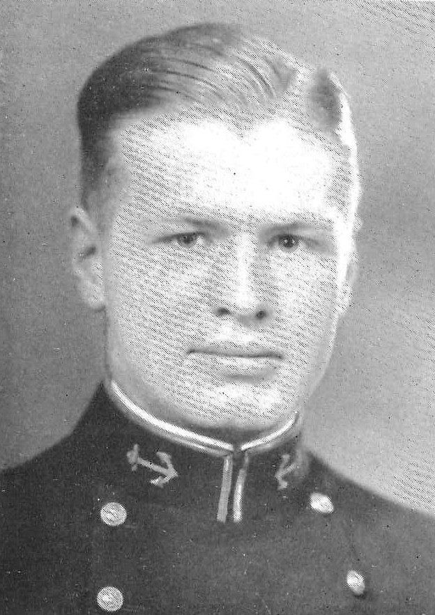 Photo of Captain Christopher S. Barker, Jr. copied from the 1933 edition of the U.S. Naval Academy yearbook 'Lucky Bag'