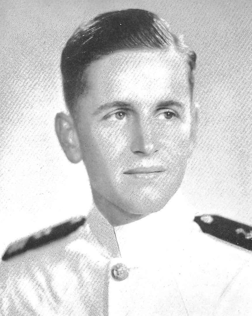 Photo of Captain William B. Barrow, Jr. copied from the 1944 edition of the U.S. Naval Academy yearbook 'Lucky Bag'