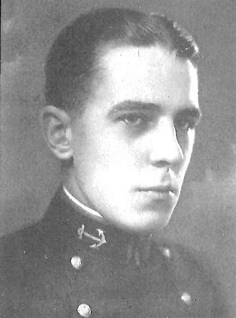 Photo of Vice Admiral William G. Beecher Jr. copied from page 140 of the 1925 edition of the U.S. Naval Academy yearbook 'Lucky Bag'.