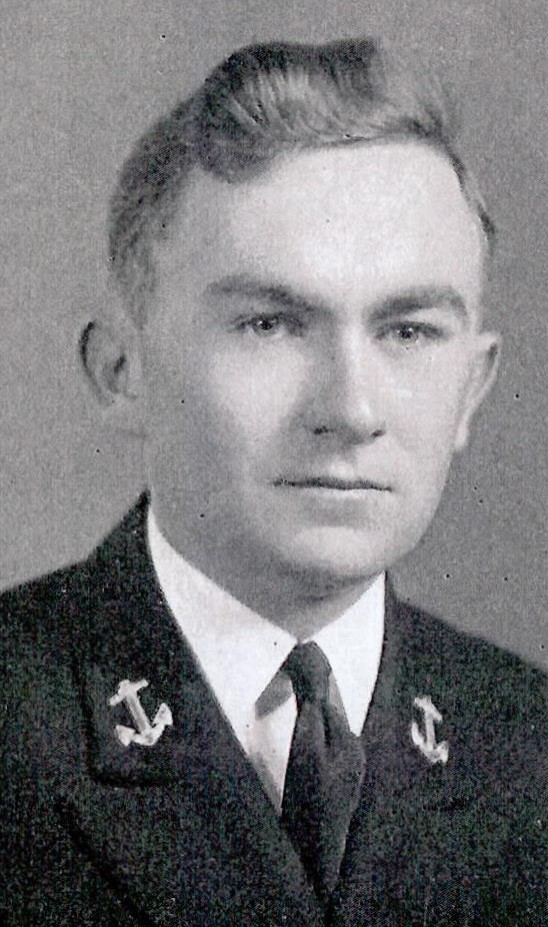 Photo of Lieutenant John E. Casey copied from page 66 of the 1941 edition of the U.S. Naval Academy yearbook 'Lucky Bag'.