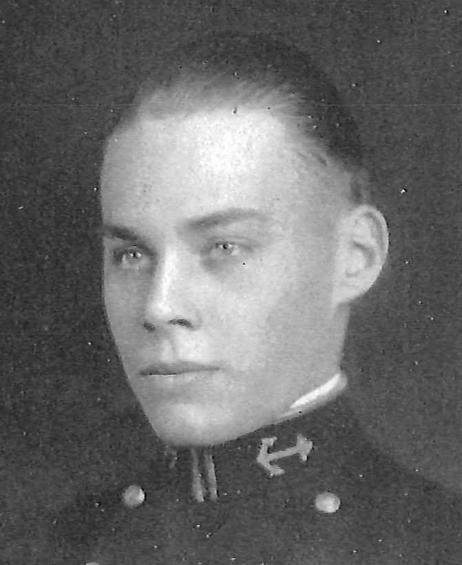 Photo of Captain Wilbur H. Cheney, Jr. copied from page 210 of the 1934 edition of the U.S. Naval Academy yearbook 'Lucky Bag'.