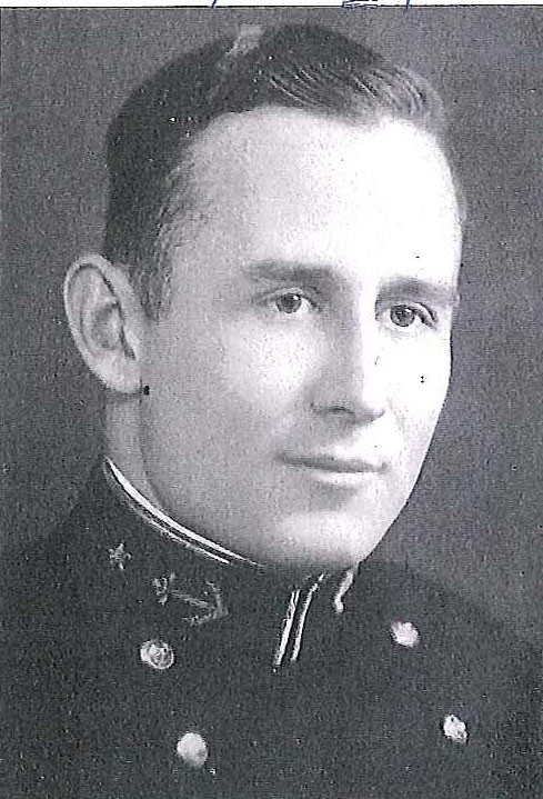 Photo of Captain Louis E. DeCamp copied from page 100 of the 1938 edition of the U.S. Naval Academy yearbook 'Lucky Bag'.
