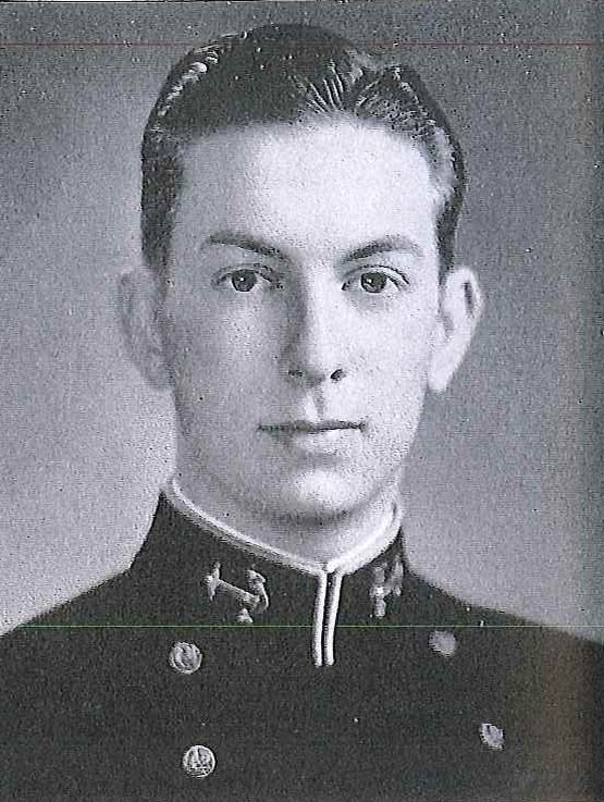 Photo of Rear Admiral George F. Ellis, Jr. copied from page 288 of the 1945 edition of the U.S. Naval Academy yearbook 'Lucky Bag'.