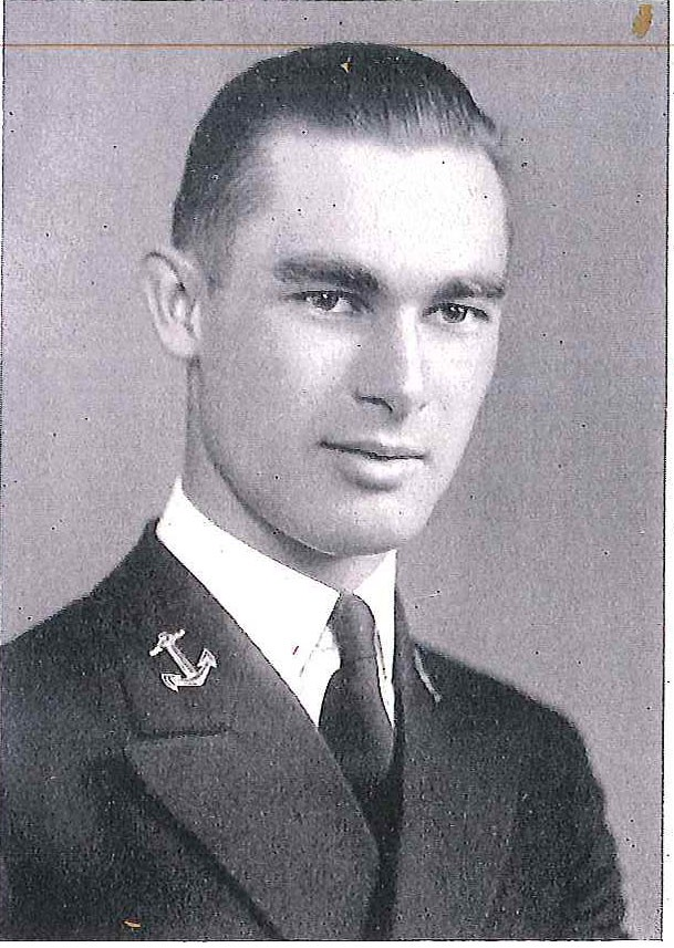 Photo of Capt. Stanley E. Ellison copied from page 141 of the 1940 edition of the U.S. Naval Academy yearbook 'Lucky Bag'.