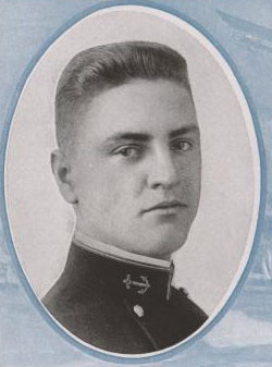 Ensign Ellis H. Geiselamn, US Naval Academy class of 1918 photograph. 1918 'Lucky Bag,' page 104.