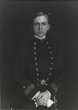 Midshipman Royal E. Ingersoll, US Navy, Photographed in his first class year, 1904-05, as First Battalion Commander, US Naval Academy. Courtesy of Mrs. Arthur C. Nagle, 1980. Photographic Section, Naval History and Heritage Command, #NH90910.