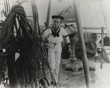 Royal Eason Ingersoll, son of RADM R. R. Ingersoll, and later Admiral himsel. Photographed on board USS Bancroft at the Naval Academy, Annapolis, MD, circa 1893. Sailor suit was the boys' costume for dancing school closing 'The Sailor's Hornpipe.' Courtesy of Mrs. Arthur C. Nagle, 1980. Photographic Section, Naval History and Heritage Command, #NH90908.