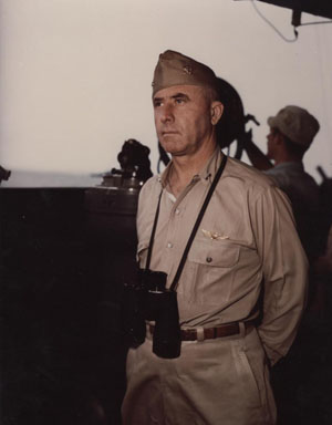 Rear Admiral Alfred E. Montgomery, USN. Commander Carrier Division 12, on bridge of his Flagship USS Essex (CV-9), circa February 1944. Photographic Section, Naval History and Heritage Command, #80-G-K-14102.
