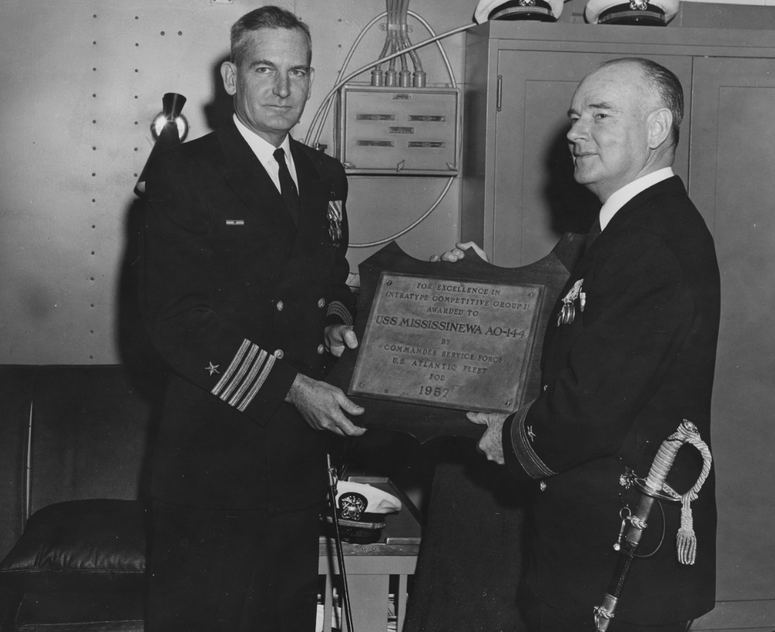 Captain Elliott Laughlin, USN, and Rear Admiral Ira H. Nunn, USN