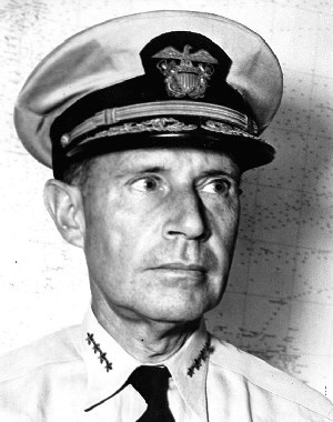 Admiral Raymond A. Spruance, USN, Commander, Central Pacific Force, U.S. Pacific Fleet. Informal portrait photograph, taken 23 April 1944. Naval Historical Center Photographic Section: #: 80-G-225341.