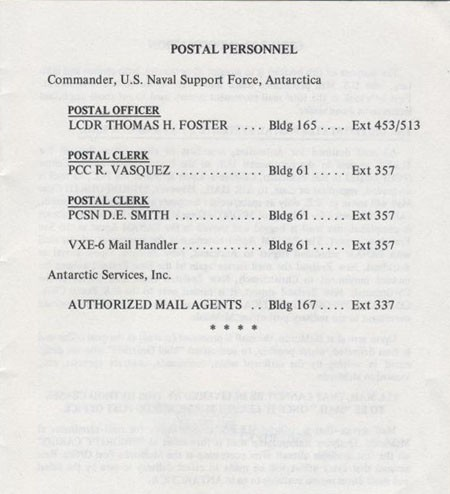 Antarctic Postal Procedures - Postal Personnel