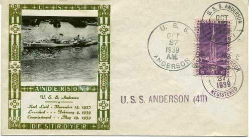 USS Anderson (DD-411), Ship Cancellation, 27 Oct 1939.