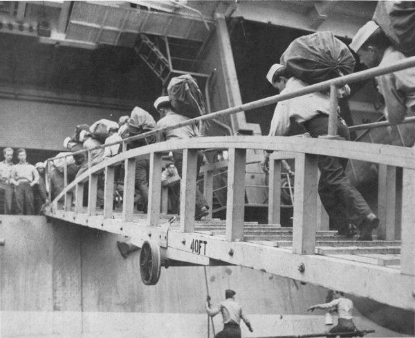Photo of sailors boarding the ship