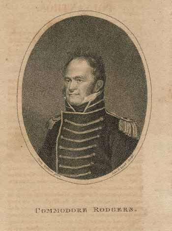 Engraving of Commodore John Rodgers from the Polyanthus, Boston, October 1813