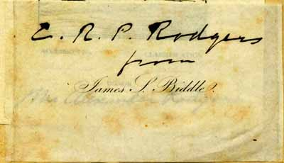 Commodore James Biddle's printed bookplate on which C. R. P. Rodgers has penned his own name and indicated the book was given to him by Biddle