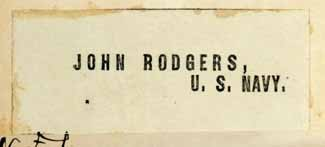 Bookplate: John Rodgers, U.S. Navy.