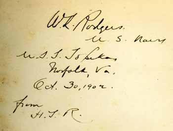 Vice Admiral W. L. Rodgers' copies with his signature dated Oct. 30 1902 on board the U.S.S. Topeka at Norfolk, Va.